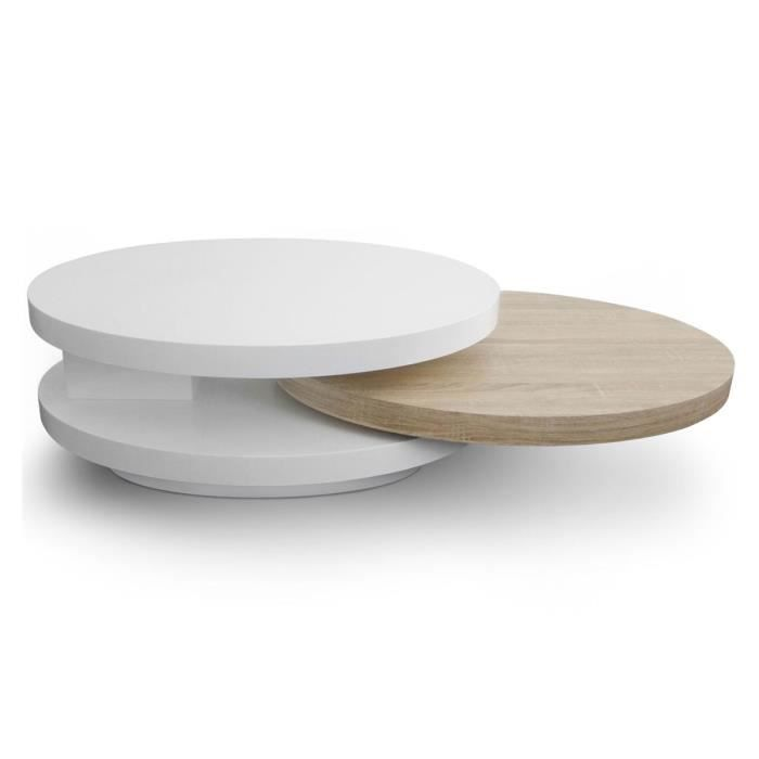 Table basse design en bois laqu chene et blanc domino for Table basse bois et laque blanc