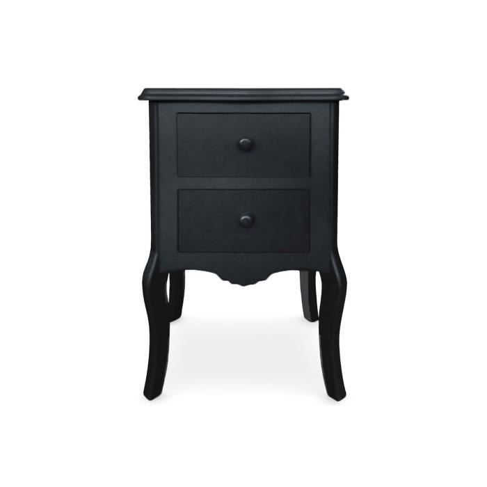 Table de chevet 2 tiroirs noir gorgeous achat vente for Table de chevet noire