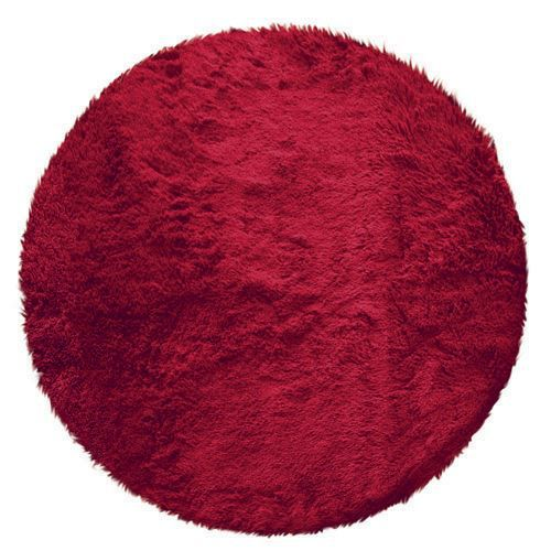 tapis rond poils longs 90cm marmotte rouge achat vente tapis cdiscount. Black Bedroom Furniture Sets. Home Design Ideas