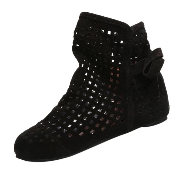 Femmes Boots Flat Low Hidden Wedges Cutout Ankle Boots Casual Shoes Cute Booties Noir_XZ*7780