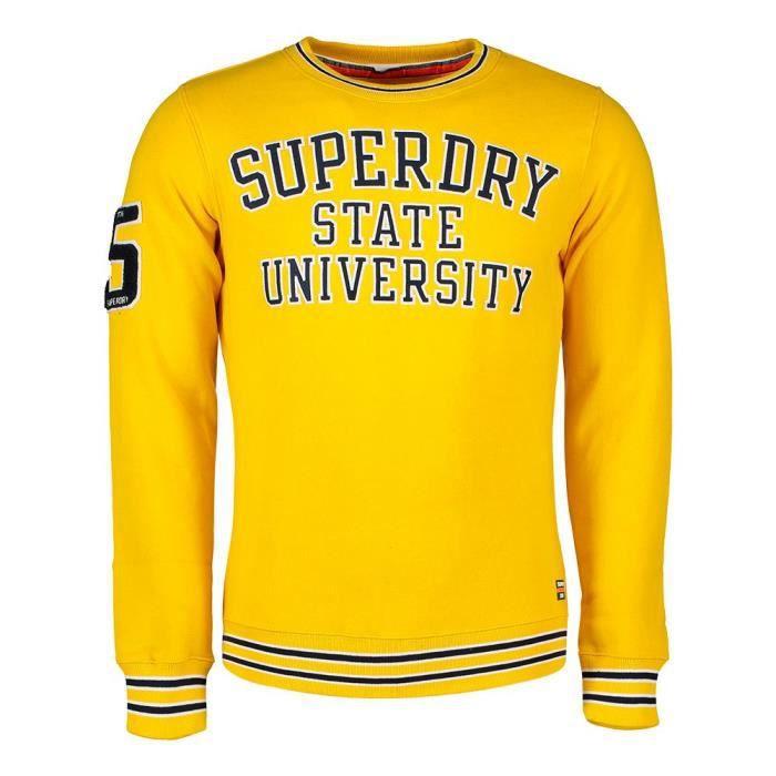 vêtements homme sweatshirts superdry academy tipped applique crew. pull molletonné superdry pour homme, appliqué en applique. faites