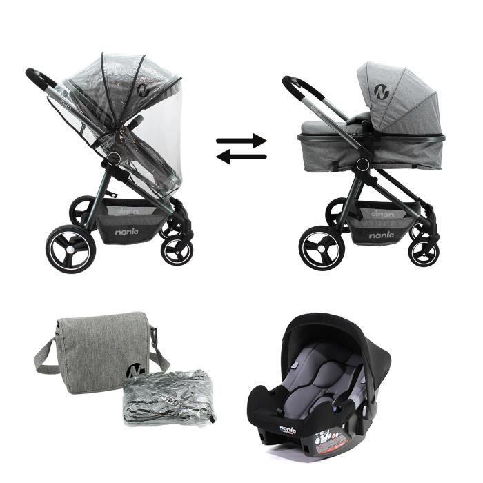 Poussette bébé combinée 3en1 poussette siège auto nacelle matelas siège combiné
