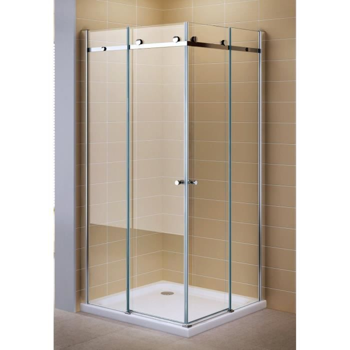 porte de douche coulissante en verre transparent 80cm x. Black Bedroom Furniture Sets. Home Design Ideas