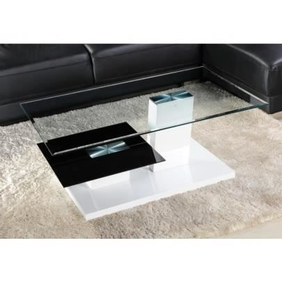 Table basse debora ii verre tremp et mdf laqu achat vente table basse - Table basse verre trempe ...