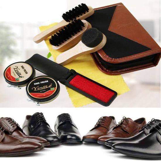 Class-Z Kit de Cirage de Chaussures 8 en 1 Kit dentretien de Chaussures avec /étui /él/égant en Cuir PU Accessoire Cirage Chaussure