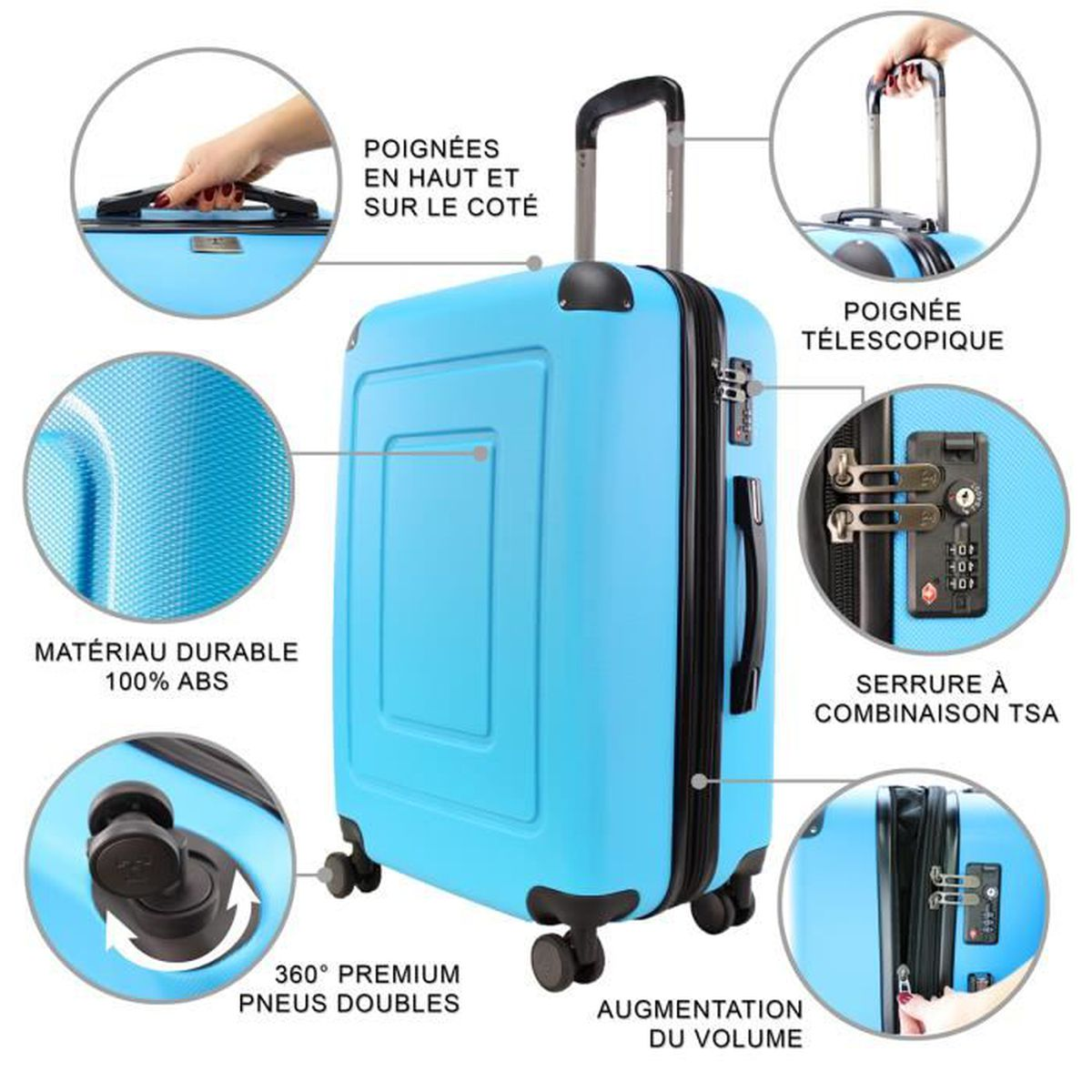 Rouge//Violet rigide trolley valise Léger Spinner Bagages à Main Case