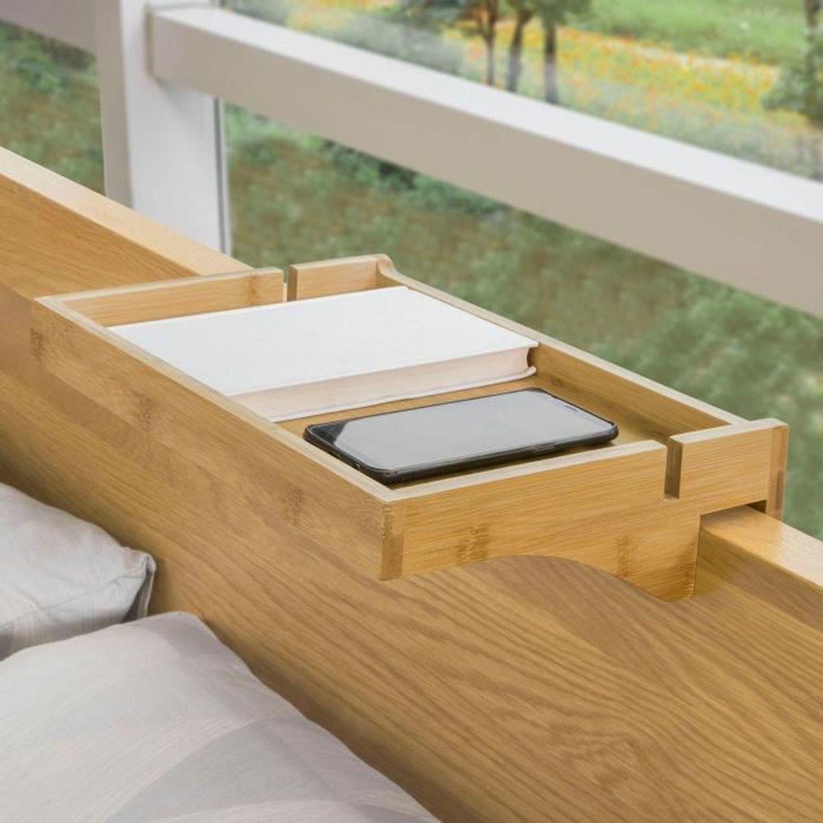 SoBuy® NKD7-N Petite Table de Chevet Étagère Suspendue en Bambou