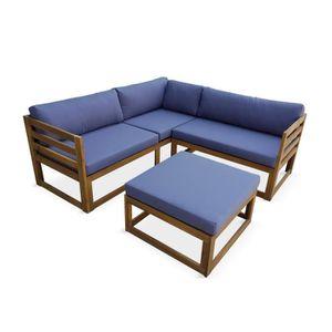 SALON DE JARDIN  Salon de jardin d'angle en bois 5 places – Rafaela
