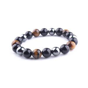 FG Jewels Bracelet Triple Protection pour Homme et Femme en Oeil de Tigre H/ématite et Obsidienne Noire
