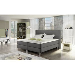 ENSEMBLE LITERIE Lit Boxspring Bart 180x200 aspect cuir coloris gri