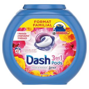 LESSIVE Dash3 En 1Lessive liquide Coquelicot et Fleurs d
