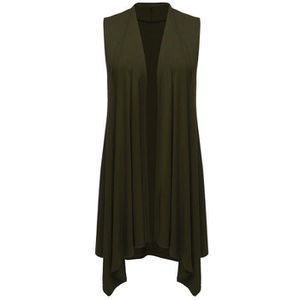 Womens Asymetric Hem Sleeveless Open Front Drape Cardigan Sweater