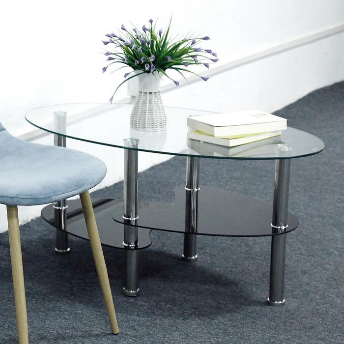 Table basse Noir et blanc verre trempé avec design contemporain