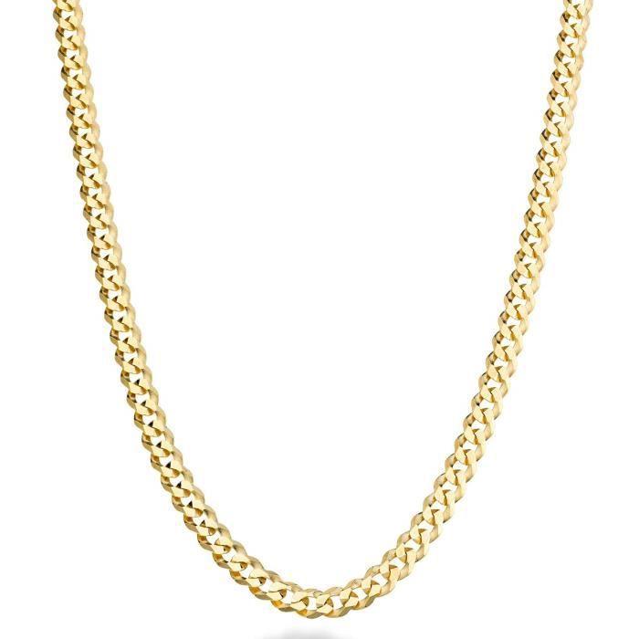 Collier DGKBS chaîne gourmette à maillons cubains en diamant massif de 5 mm en or massif 18 carats sur argent sterling pour hommes,