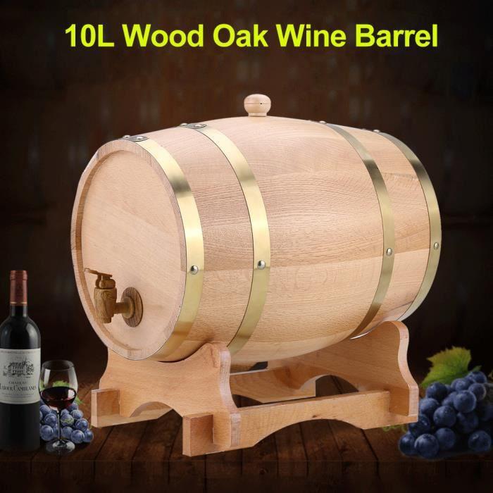 10L Baril de chêne VIN ROUGE - ALCOOL - LIQUIDE 10L tonneau en bois de chêne avec support pour le stockage des vins HB041 -COO