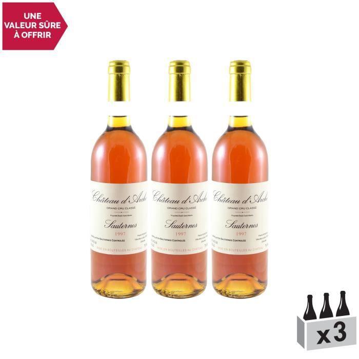 Château d'Arches AOC Sauternes 2ème Grand Cru Classé Blanc 1997 - Lot de 3x75cl - Vin Doux AOC Blanc de Bordeaux - Cépages