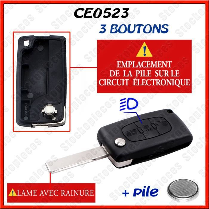 BOITIER CLEF COMPATIBLE CITROEN C1/C2/C3/C4/C5/C8 XSARA PICASSO BERLINGO /Bouton Phare / CE0523 lame avec rainure