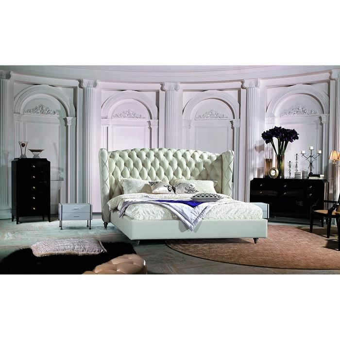 JVmoebel Luxe Design Lit Chesterfield Lit Cuir, Lit Capitonné Chambre à Coucher Mariage // Avant Lits