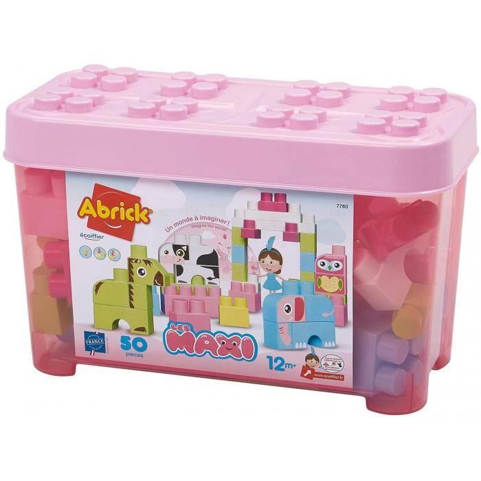 Jouets Ecoiffier -7780 - Baril Rose + Briques À Empiler Animaux Abrick Maxi – Jeu De Construction Pour Enfants – 50 Pièces – Dès 12