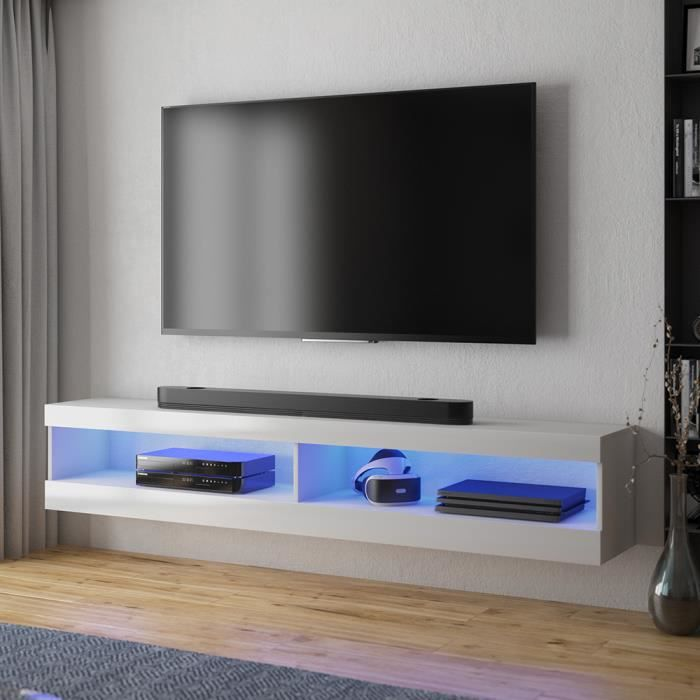 Meuble tv / Meuble de salon - VIANSOLA - 140 cm - blanc mat / blanc brillant - éclairage LED - style moderne