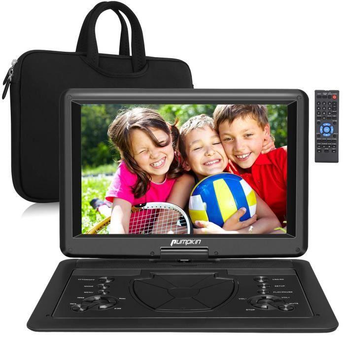 Pumpkin 16 Pouce Lecteur DVD Portable Voiture avec Sacoche de Transport Grand Ecran pour Enfant Supporte Vidéo Full HD,HDMI Input