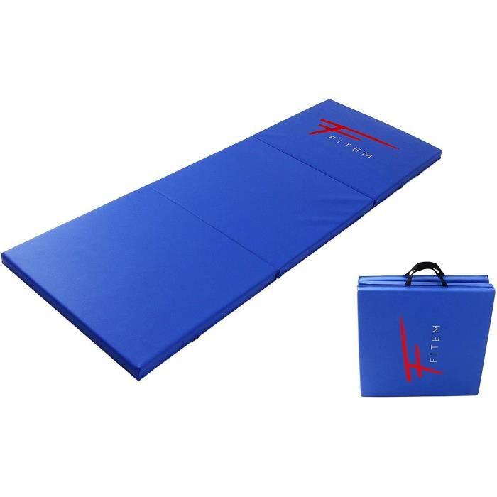 Fitem Tapis de Sol Pliable Epais Haute Gamme Taille 240 x 120 x 4 cm ou 180 x 60 x 4 cm avec Poignets de Transport pour Gym,Yoga,MMA