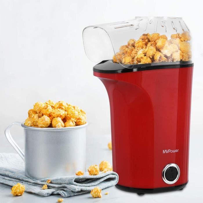 MVPower Machine à Popcorn Electrique 1400W, Popcorn Popper Antiadhésif, Air Chaud sans Huile, avec Couvercle Amovible, Protection co