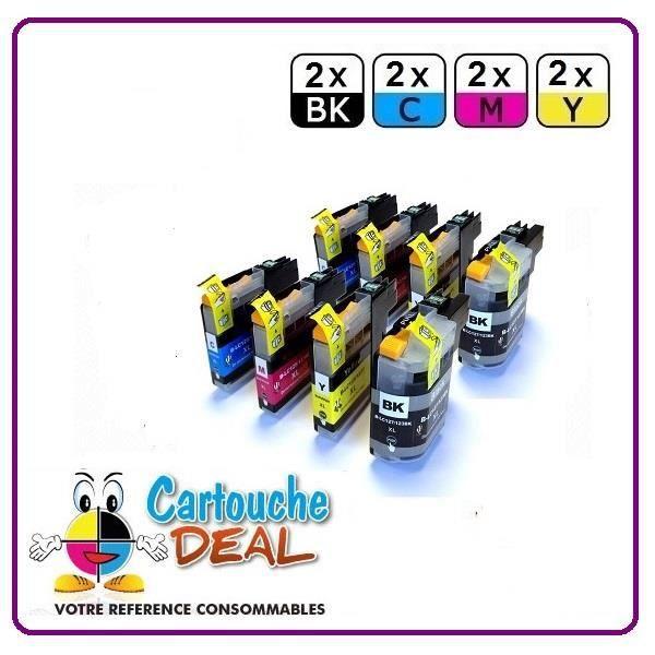 2+6 Cartouche générique compatible BROTHER LC125 LC127 XL