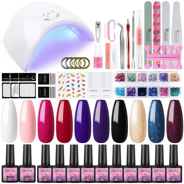 Kit Vernis Gel Semi Permanent 10pc 36W Lampe UV/LED Gel Polish Soak Off Gel UV/LED Top Coat Base Coat Lime Nail Art Decors Manucre