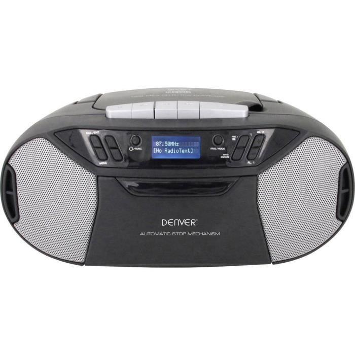 Denver TDC-250 Radio-lecteur CD DAB+, FM AUX, CD, Cassette, USB noir