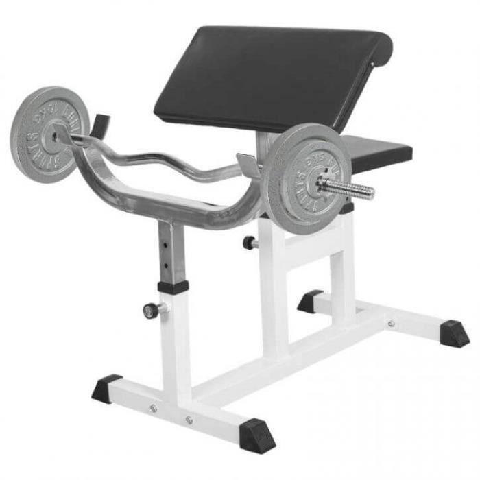 Banc de musculation curl pour entrainer les biceps + Barre EZ + 2 x 10kg et 2 x 5kg en fonte