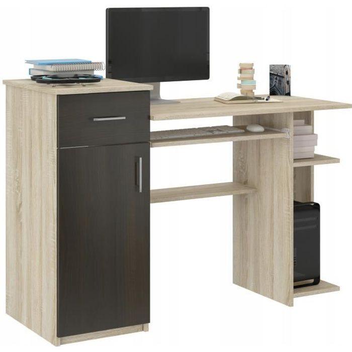BERGEN - Bureau moderne d'ordinateur - 120x76x50 cm - Bureau ordinateur PC - Support clavier étagère imprimante - Wengé-Sonoma