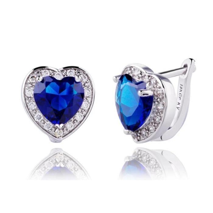 Boucles D'Oreilles - Coeur De L'Océan - Titanic - Argenté - Bleu