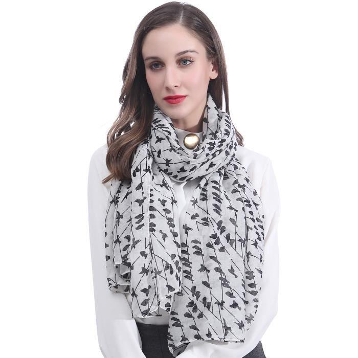 Grand Foulard Echarpe Etole Femme Motifs Oiseaux - Blanc