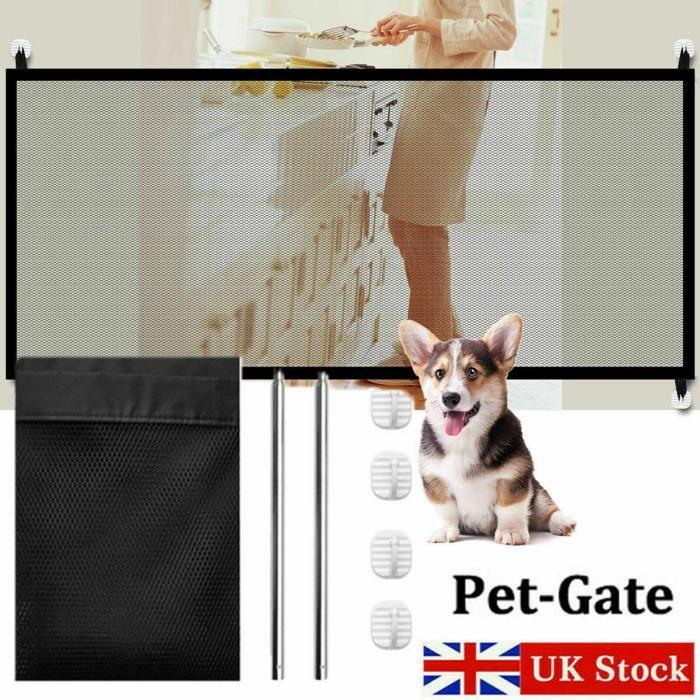 180*75cm Clôture pour animaux intérieur barrière filet de chien chat barrière d'escalier - Barrière extensible blanche treillis