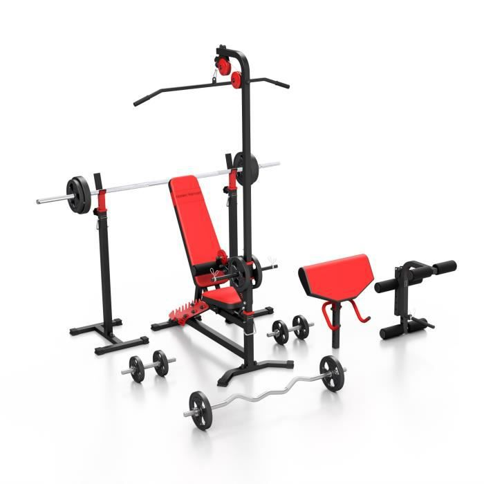 Sport Marbo Set MS38 140KG KIER - Banc de musculation, support de poids réglable, accessoires, kit barre et plateaux de poids 83 kg