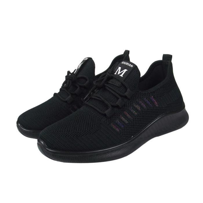 1 paire de chaussures de loisirs en maille Chaussures de de course à semelle souple (noir, taille 38) BASKET