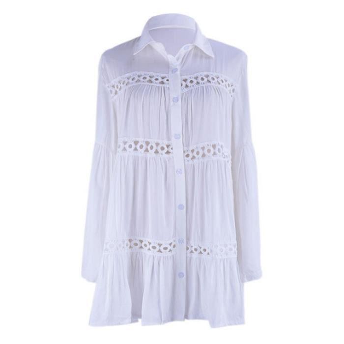 DAMILY® Robe de plage Blouse de plage Cardigan de plage Ample Coton - Blanc