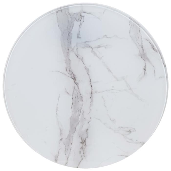 Dessus de table-Plateaux de table Blanc ?60 cm Verre avec texture de marbre