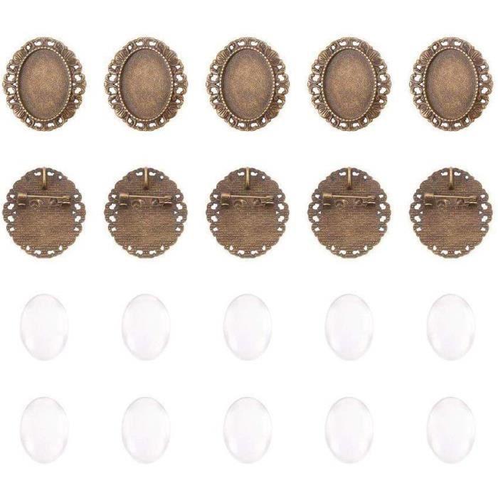 Lot de cabochons Pandahall en alliage - Verres et supports à cabochon pour image de portrait Pour femme Antique Bronze 25 mm