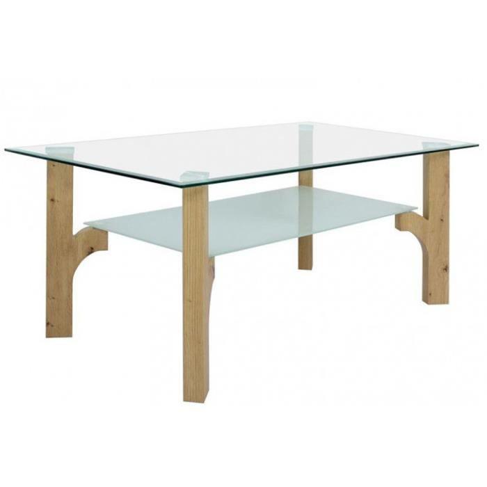 Table basse rectangulaire en verre et chêne clair - L 110 x H 45 x P 60 cm