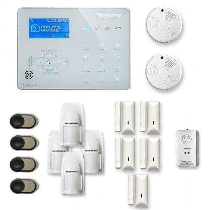 Alarme maison sans fil ICE-B 4 à 5 pièces mouvement + intrusion + détecteur de fumée + gaz - Compatible Box internet