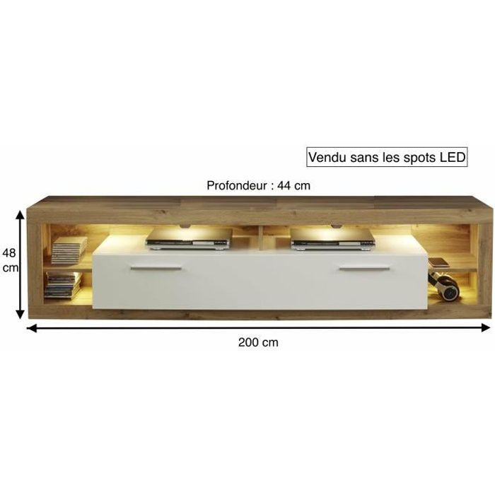 ROCK - Meuble TV XL - Blanc brillant/bois - 200/48/44
