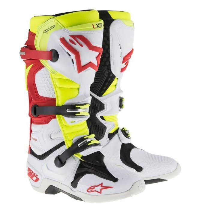 CHAUSSURE - BOTTE Bottes Moto Cross Alpinestars Tech 10 Blanc Rouge