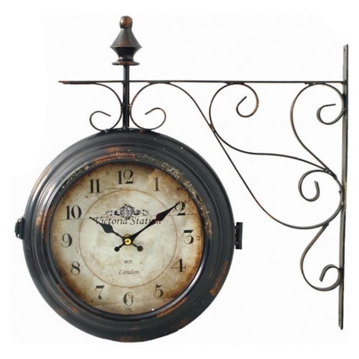 horloge pendule de gare bi faces en fer forge achat vente horloge fer forg m tal cdiscount. Black Bedroom Furniture Sets. Home Design Ideas