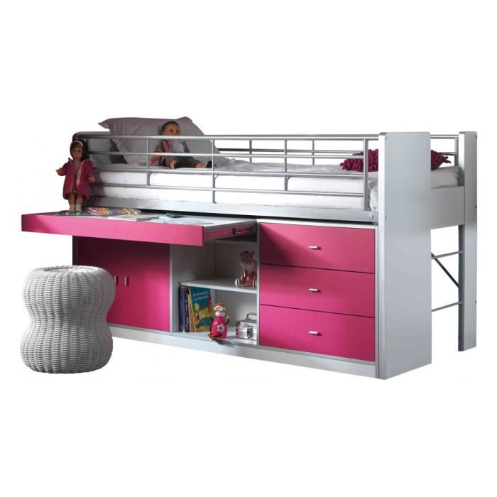 lit enfant bureau r tractable laqu fuchsia bonny achat vente lit complet lit enfant bureau. Black Bedroom Furniture Sets. Home Design Ideas