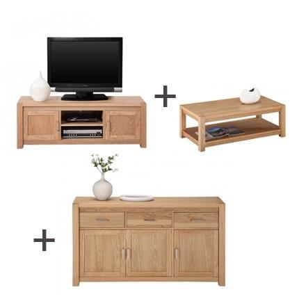 ensemble buffet meuble tv table basse coloris ch ne clair achat vente meuble tv ensemble. Black Bedroom Furniture Sets. Home Design Ideas