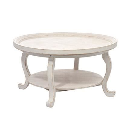 Table ronde de salon en bois blanc achat vente table manger table ron - Table salon cdiscount ...