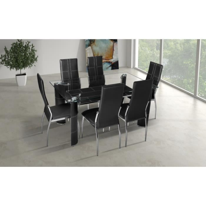 Table manger en verre 6 chaises simili cuir achat for Chaises table a manger