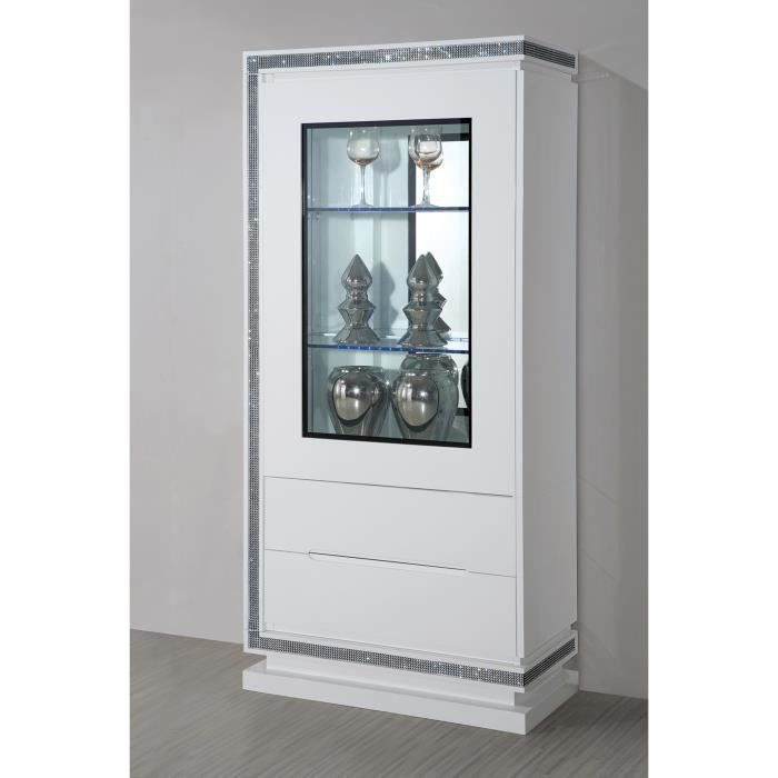 vitrine 1 porte design blanc laqu avec strass achat. Black Bedroom Furniture Sets. Home Design Ideas